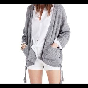 Madewell Side Lace Cardigan Gray Grey XS